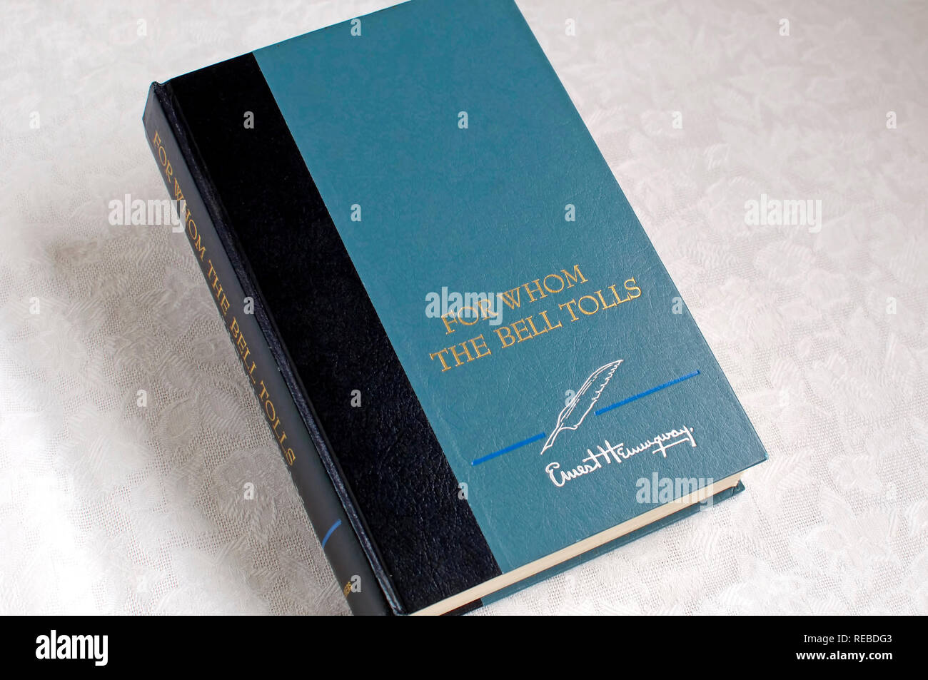 The book For Whom The Bell Tolls a novel by Ernest Hemingway.  Renewed copyright  ©1967 by Mary Hemingway. - Stock Image