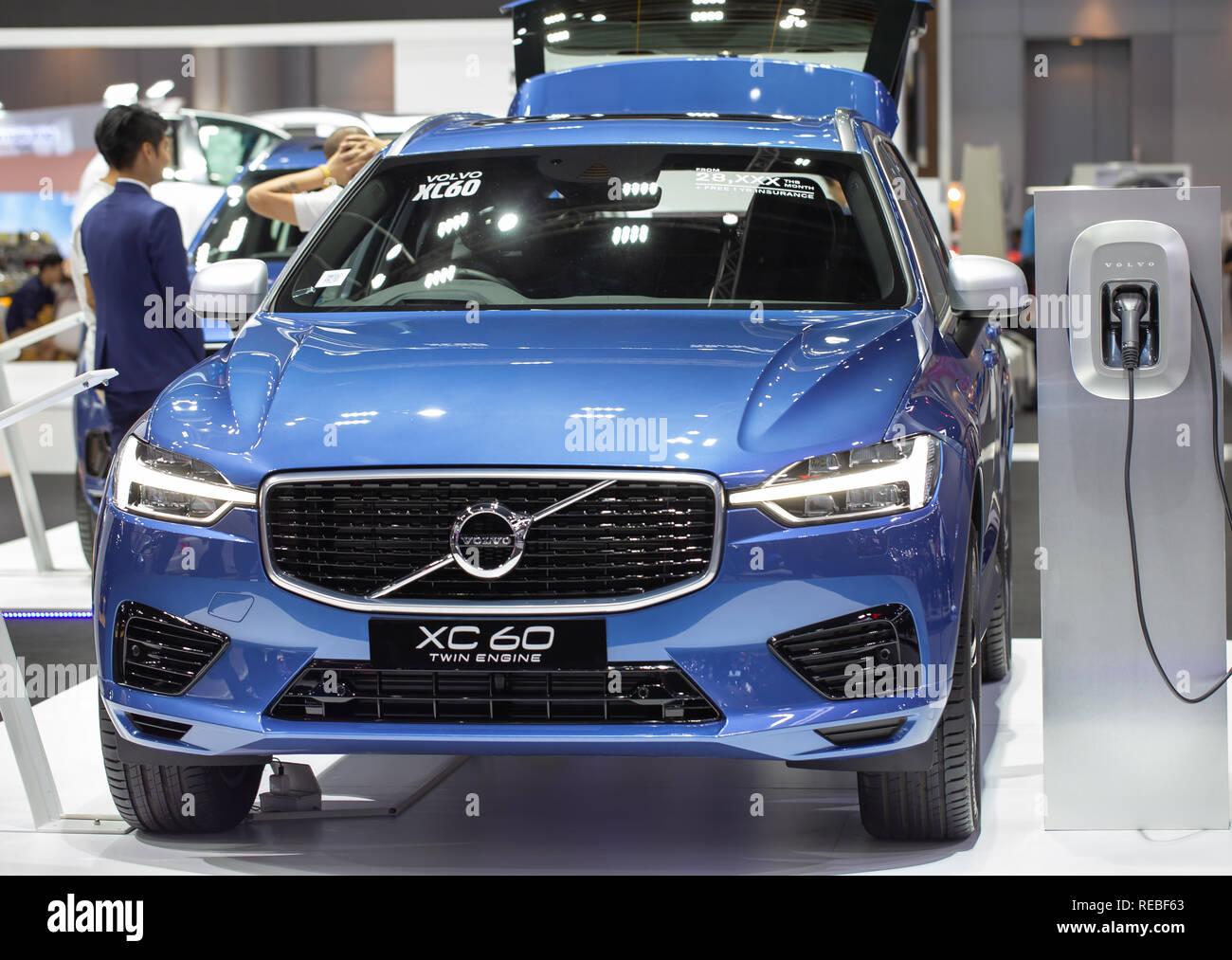 Nonthaburi, Thailand - December 4, 2018: Volvo XC 60 Twin Engine Hybrid SUV presented in Motor Expo 2018 - Stock Image