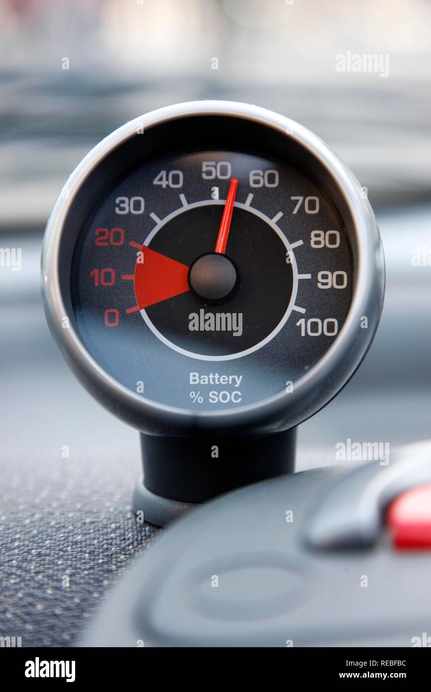 Charge status indicator, electricity for cars from a filling station by the RWE power company, Essen, North Rhine-Westphalia - Stock Image