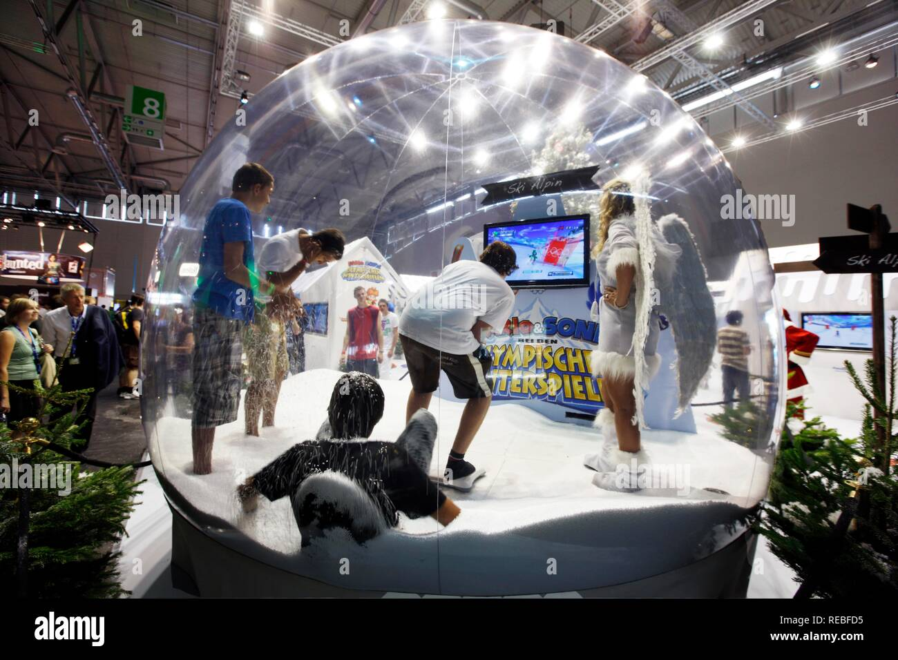 Nintendo Wii booth at the Entertainment Area of the Gamescom, the world's largest fair for computer games in the Messe Koeln - Stock Image