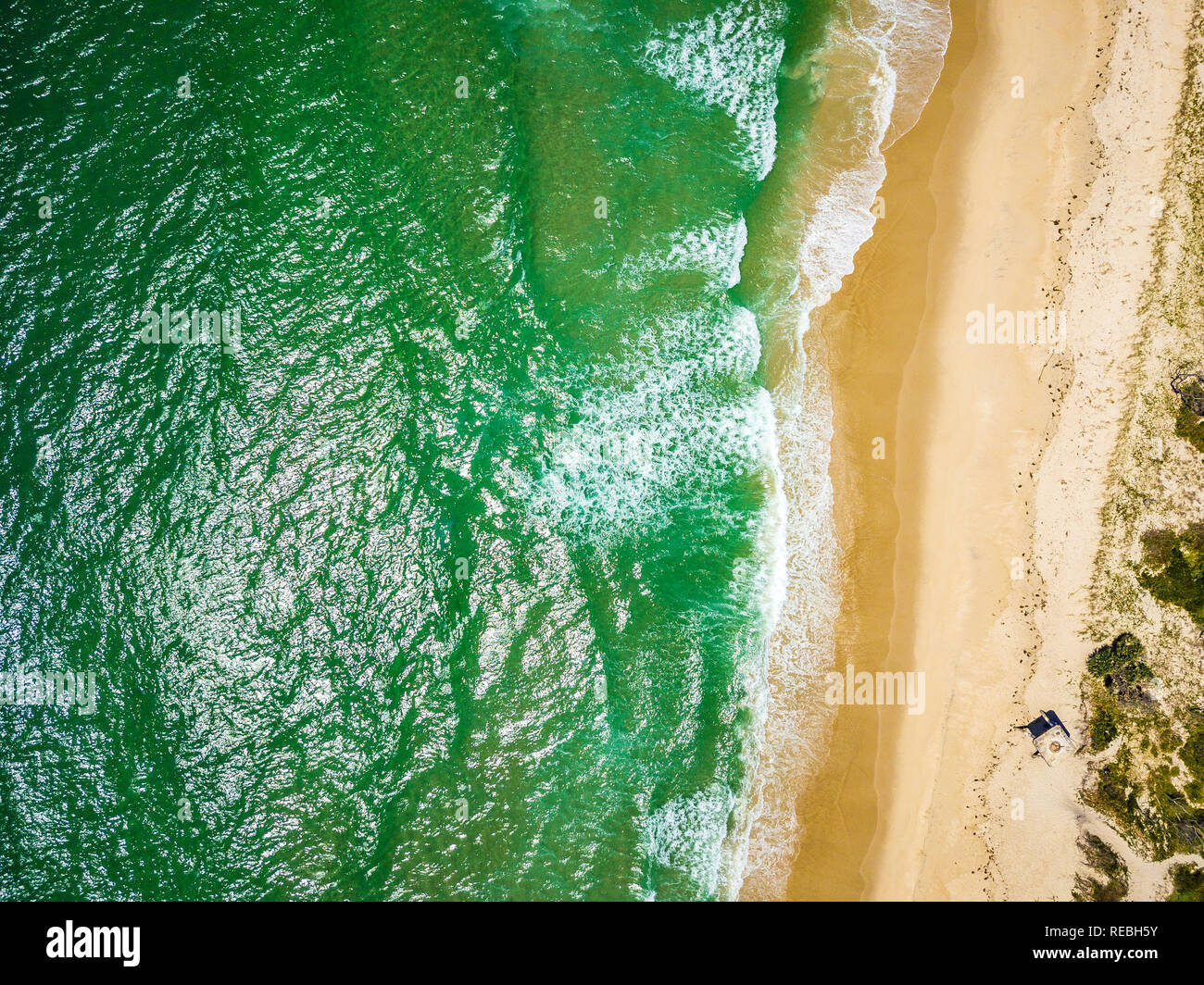 Aerial view of the beach at the Northern tip of Bribie Island in QLD, Australia - Stock Image