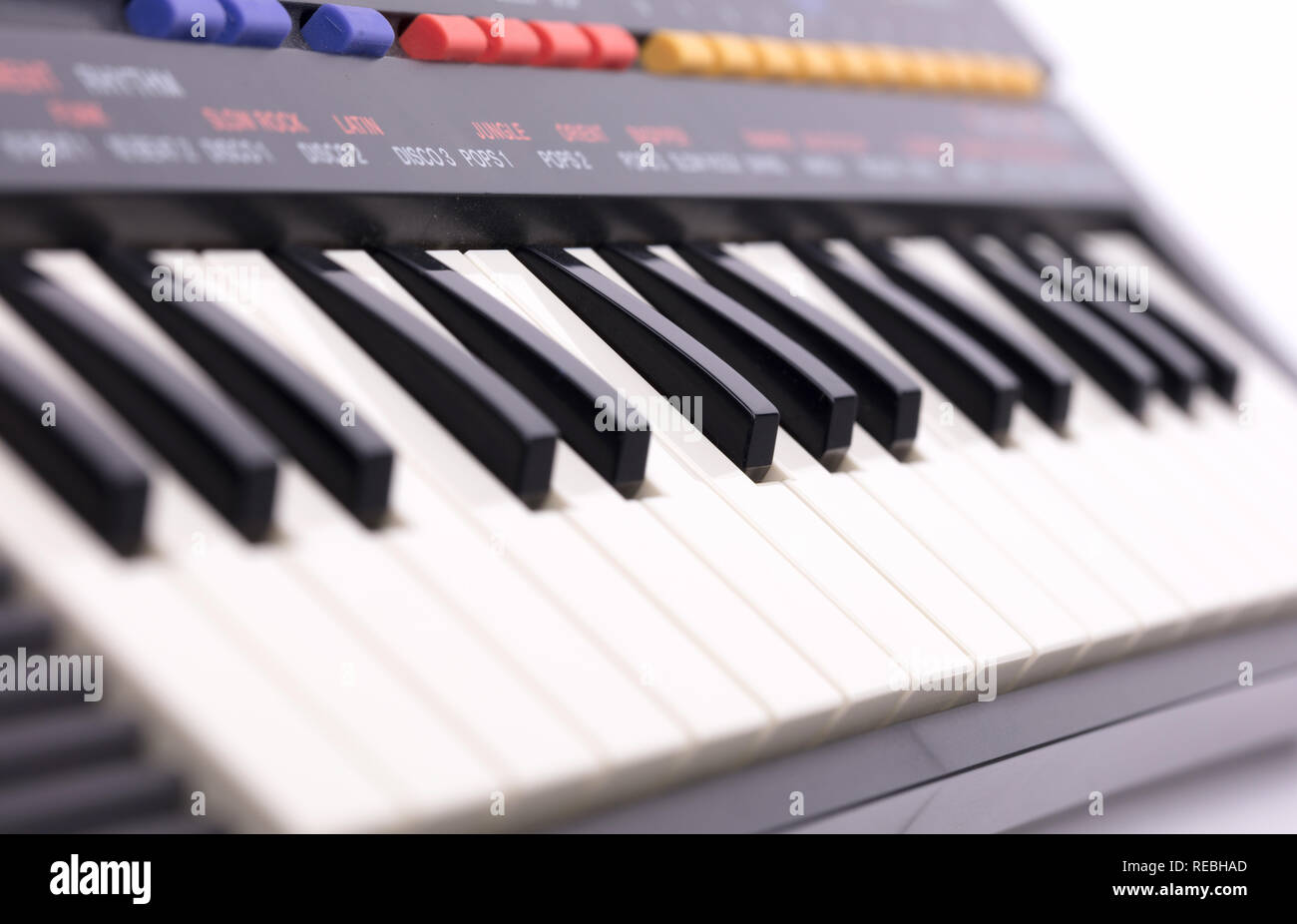 Small old keyboard, isolated on a white background Stock