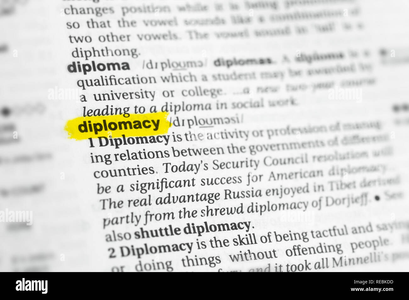 Highlighted English word 'diplomacy' and its definition at the dictionary. - Stock Image