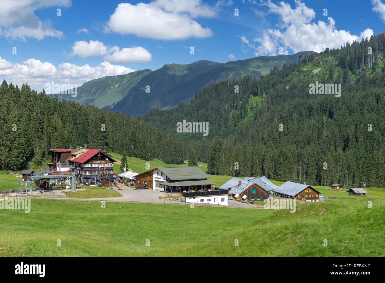 Valley station of the mountain railway Ifenbahn in the Kleinwalsertal - Stock Image
