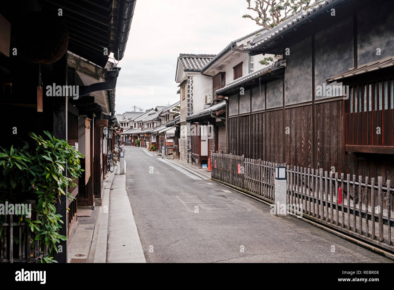 The Bikan historical district in Kurashiki, Japan. Situated just next to Okayama, Kurashiki is one of the few Japanese cities to have preserved a larg - Stock Image