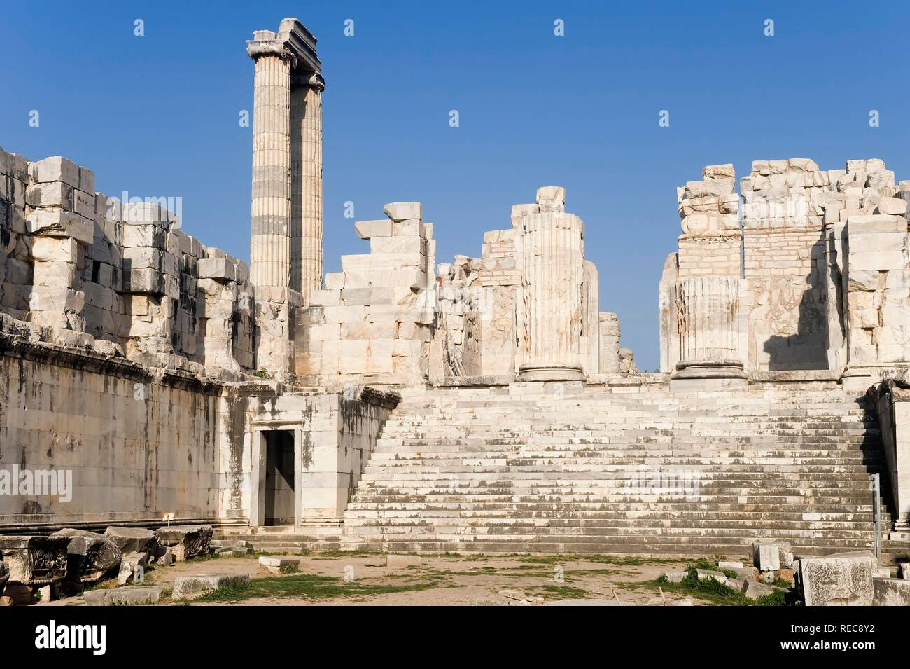 Apollo temple, inside lower court yard, Didyma, Turkey - Stock Image