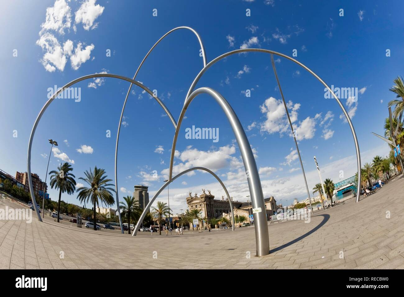 ´Ones´ sculpture by Andreu Alfaro at Barcelona port, Catalonia, Spain, Europe - Stock Image