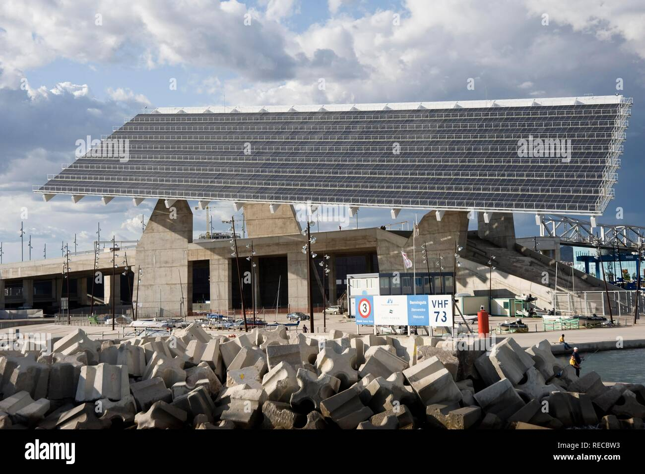 Photovoltaic pergola, Diagonal Mar, Waterfront, Barcelona, Catalonia, Spain, Europe Stock Photo