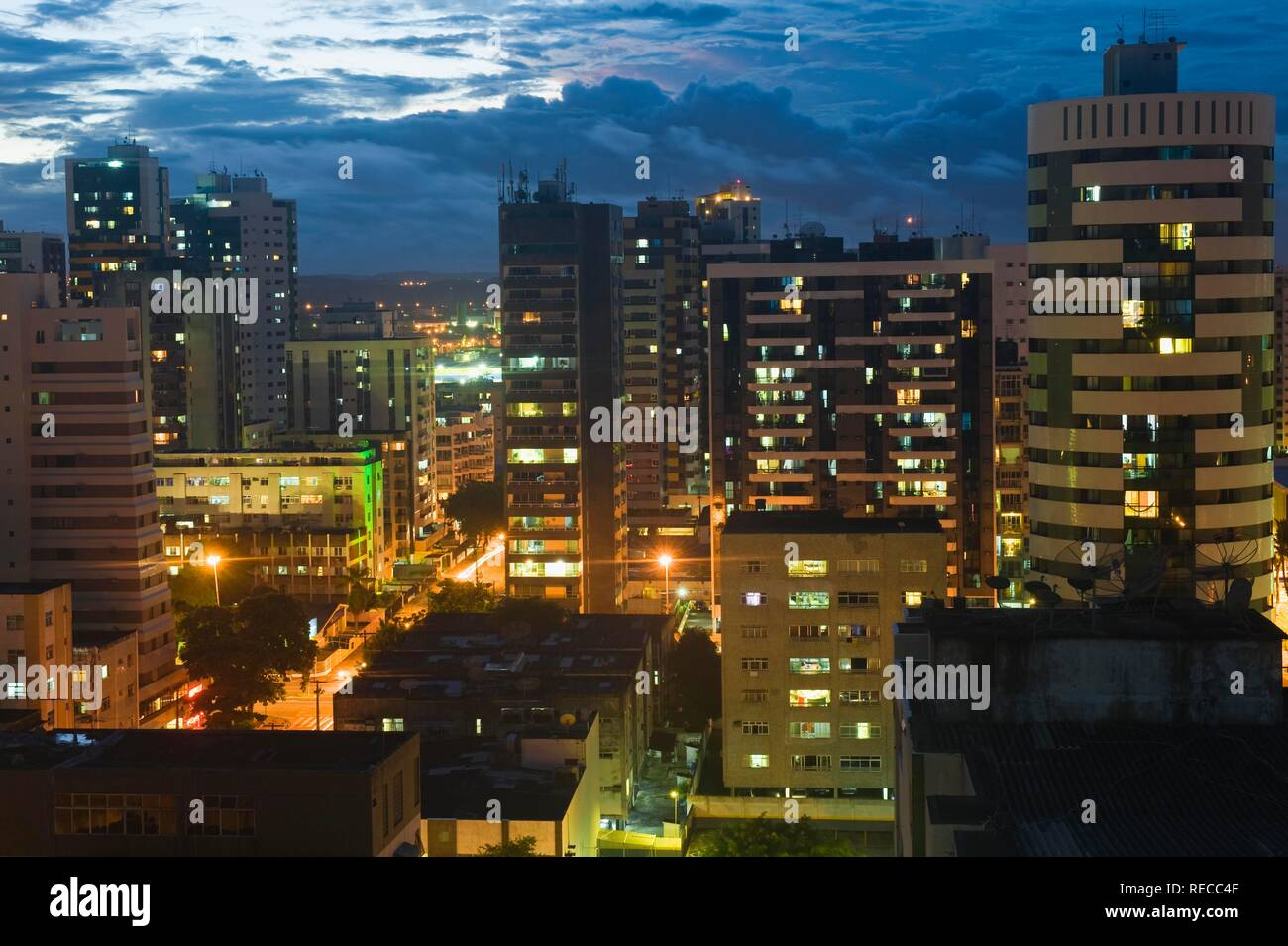 Recife skyline at night, Pernambuco state, Brazil, South America - Stock Image