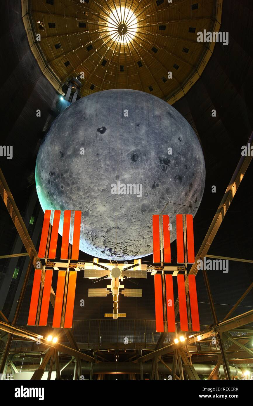 Model of the ISS, International Space Station, and the Moon, Out of this World – Wonders of the Solar System - Stock Image