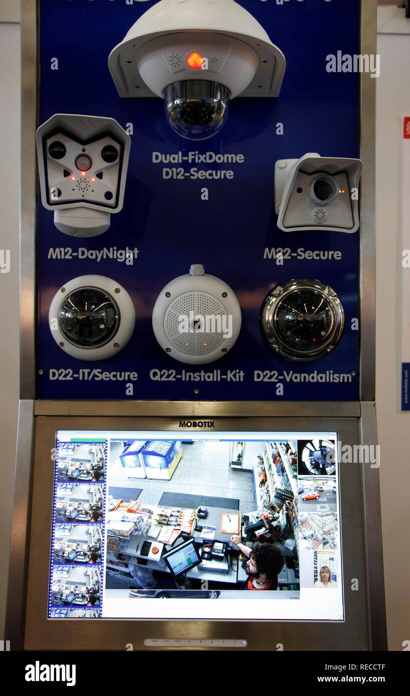 Surveillance camera systems, used for a cash office of a supermarket, IPOMEX, International Police Trade Fair and Conference Stock Photo