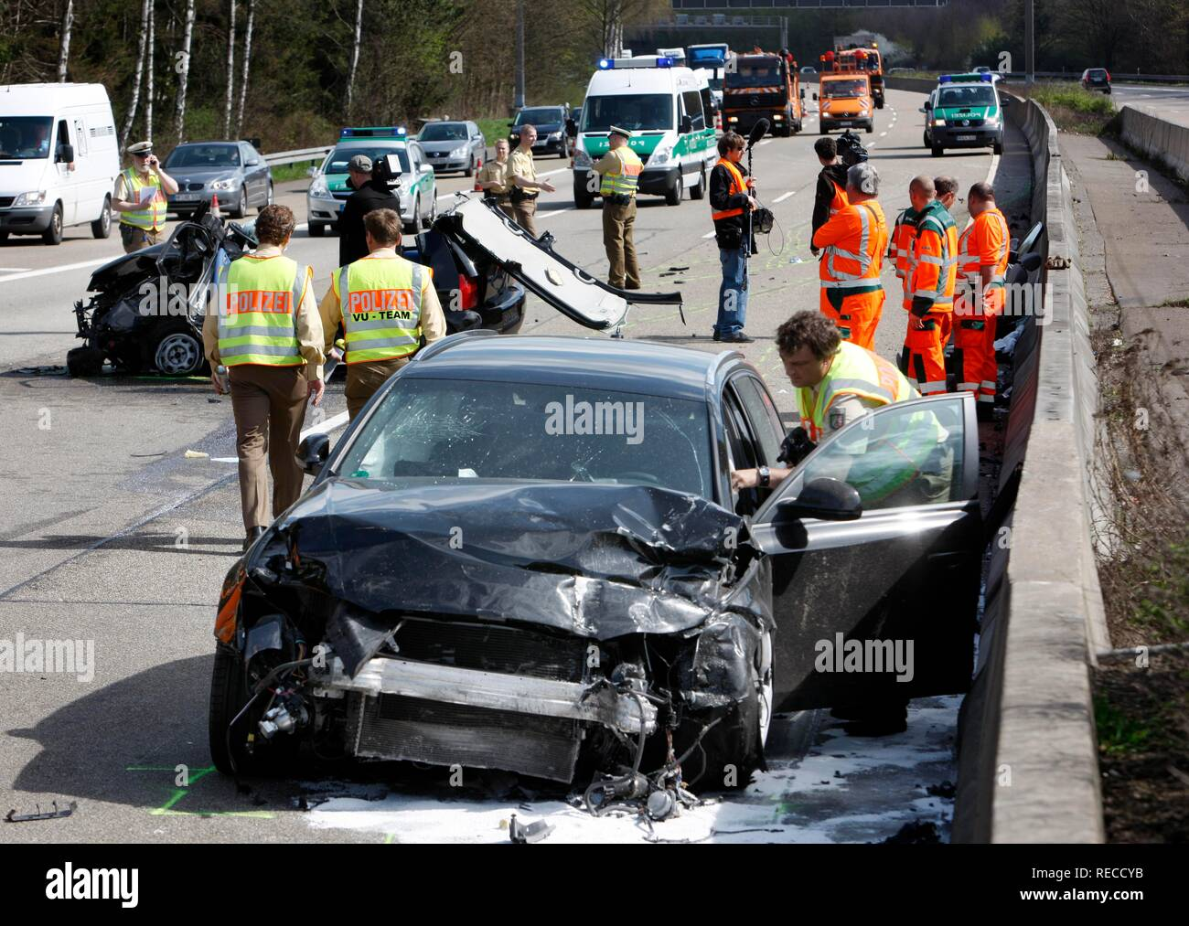 Traffic accident, 5 people hurt, on A1 motorway at the