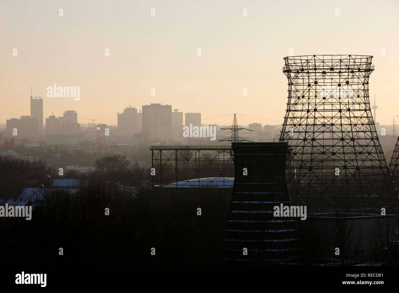 City center skyline view from Zeche Zollverein, Essen, North Rhine-Westphalia - Stock Image