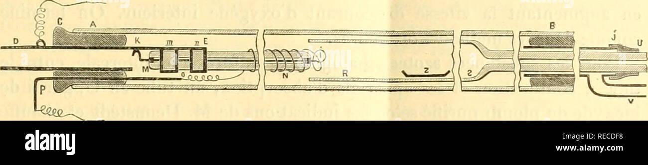 """. comptesrendusheb1451907acad. es naturelles. SÃANCE DU l() SEI'TEMliRE I907. SaS et de 6'"""""""" rie diamètre extérieur au moyen des agrafes ni, n soudées sur le prolonge- ment niiHallique. Un courant électrique DKK^F', i;mpruntanl environ 80 watts, porte au rouge sombre la spirale de platine. Le tube niétallique traverse le bouchon C qui s'adapte au tube à combustion AB, en verre d'iéna, de 35"""""""" de longueur et de iG"""""""""""" de diamètre intérieur.. La substance, placée dans une nacelle en porcelaine, est introduite dans le tube à combustion au moyen du tube d Stock Photo"""