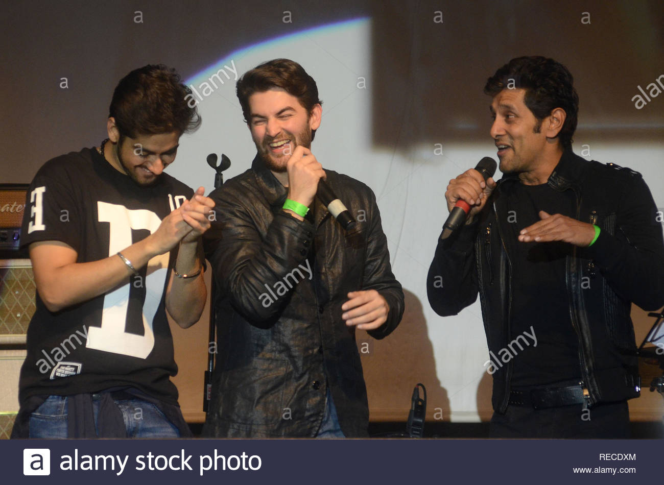 Bollywood actor Vinay Virmani, Neil Nitin Mukesh and  Vikram during the music launch of upcoming film David in Mumbai, India on January 14, 2013. (Shripad Naik/ SOLARIS IMAGES) - Stock Image