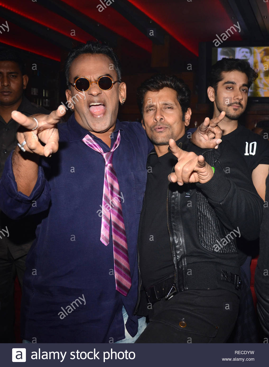 Singer Remo Fernandes, actor Vikram,and Vinay Virmani during the music launch of upcoming film David in Mumbai, India on January 14, 2013. (Shripad Naik/ SOLARIS IMAGES) - Stock Image
