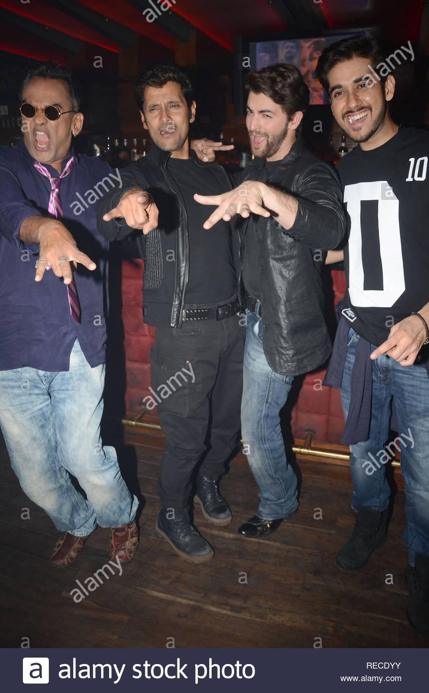 Singer Remo Fernandes, actor Vikram, Neil Nitin Mukesh  and Vinay Virmani during the music launch of upcoming film David in Mumbai, India on January 14, 2013. (Shripad Naik/ SOLARIS IMAGES) - Stock Image