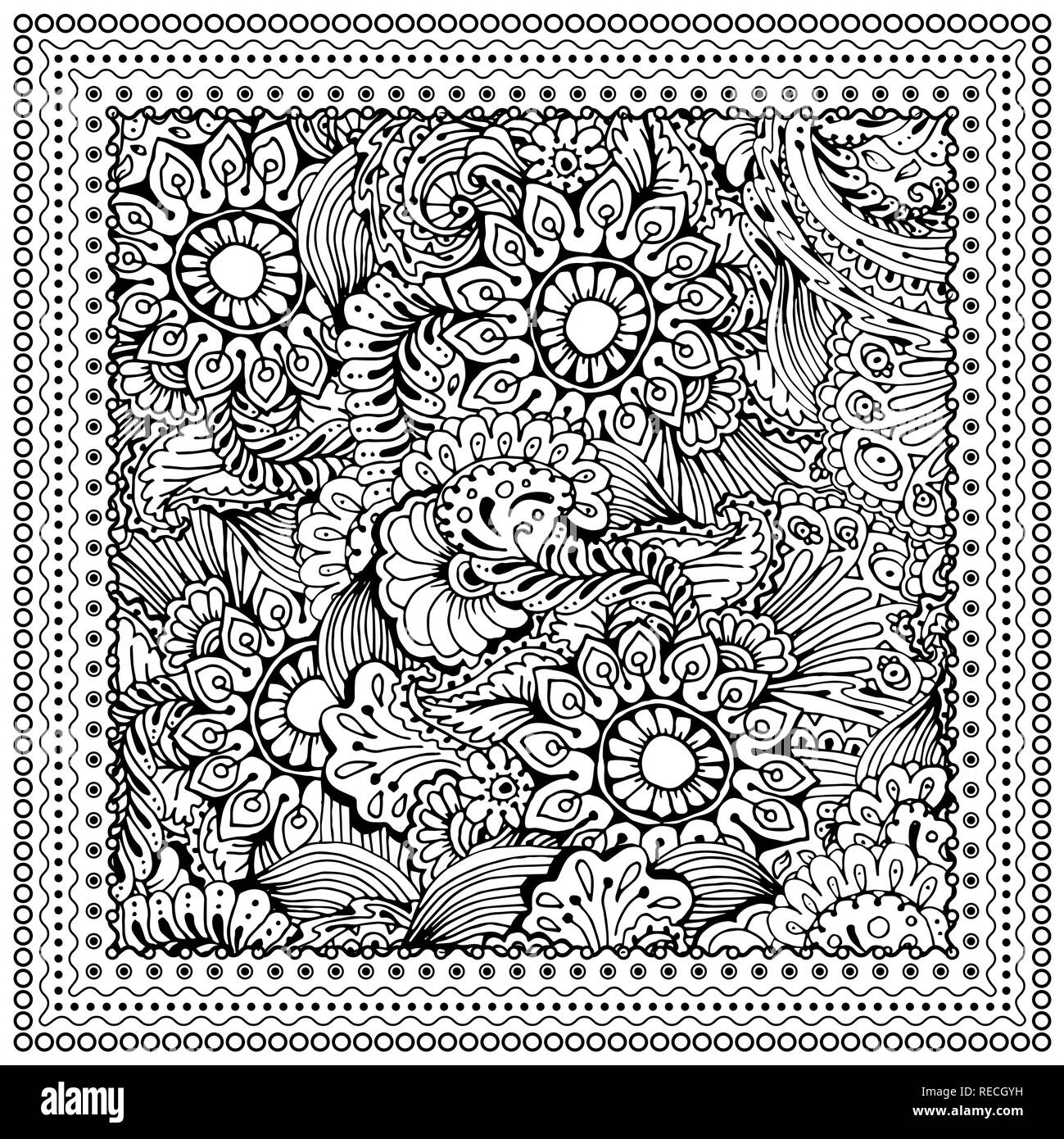 Black vector mono color illustration.Adult Coloring book page design ...