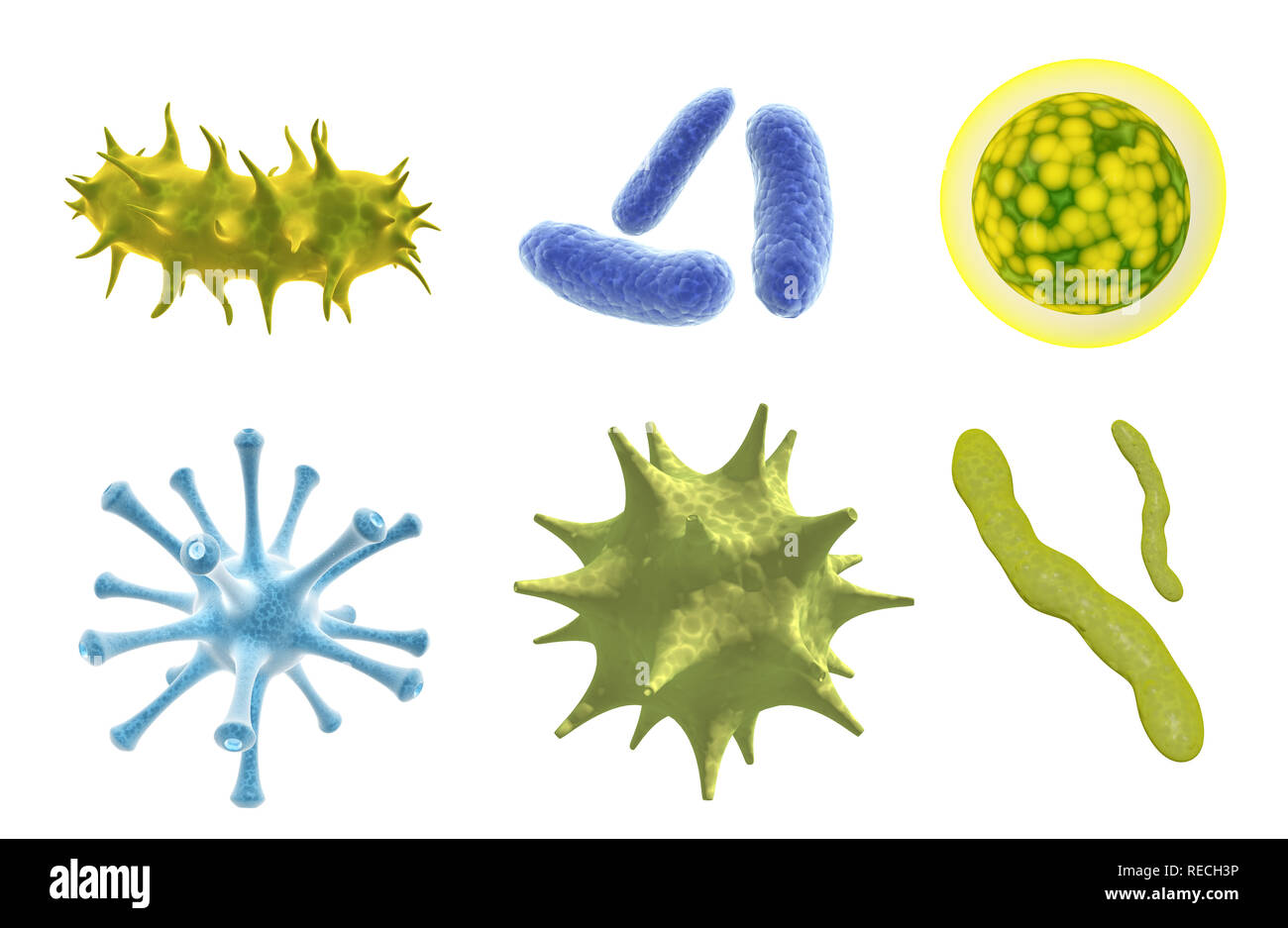 Set of virus, germ and bacteria. Collection of different cell illness and microorganism. Isolated on white background. 3d render - Stock Image