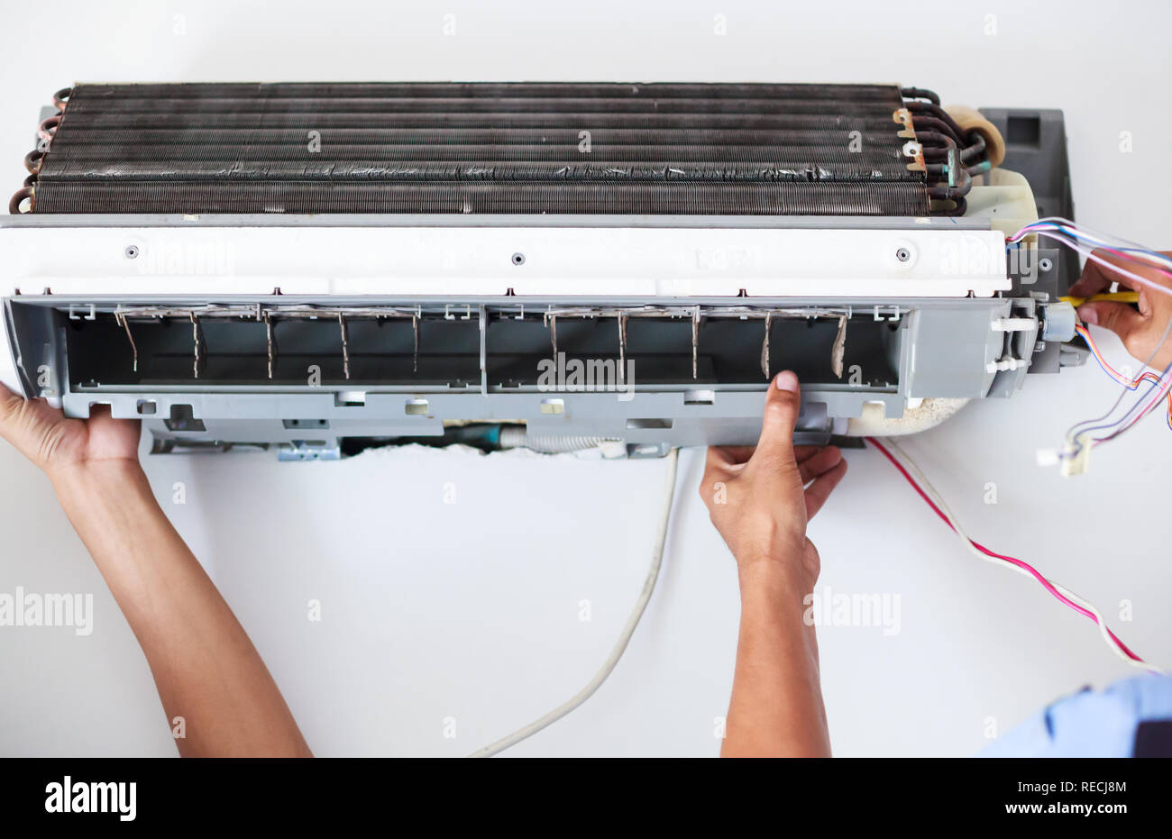 Disassemble and Clean Air Conditioner  Parts by high pressure water or air from nozzle or vacuum. Device Maintenance, Health Care, Germ Proactive Prev - Stock Image