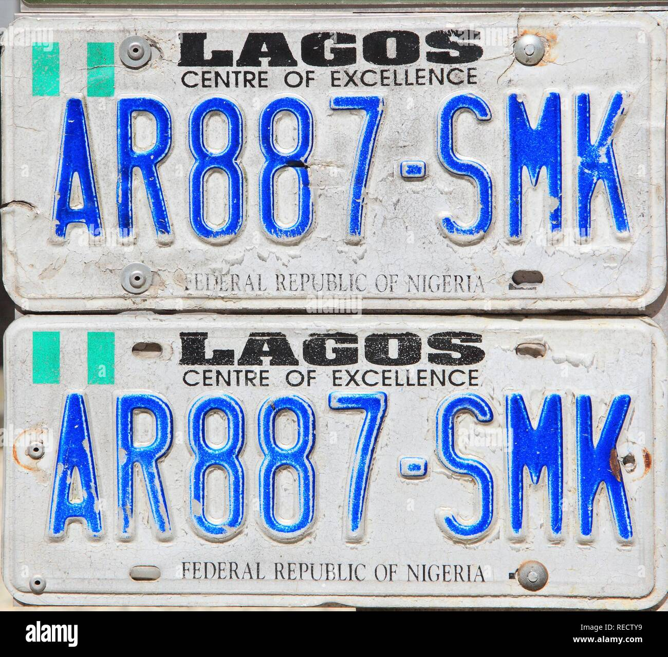 Number plates from Nigeria - Stock Image
