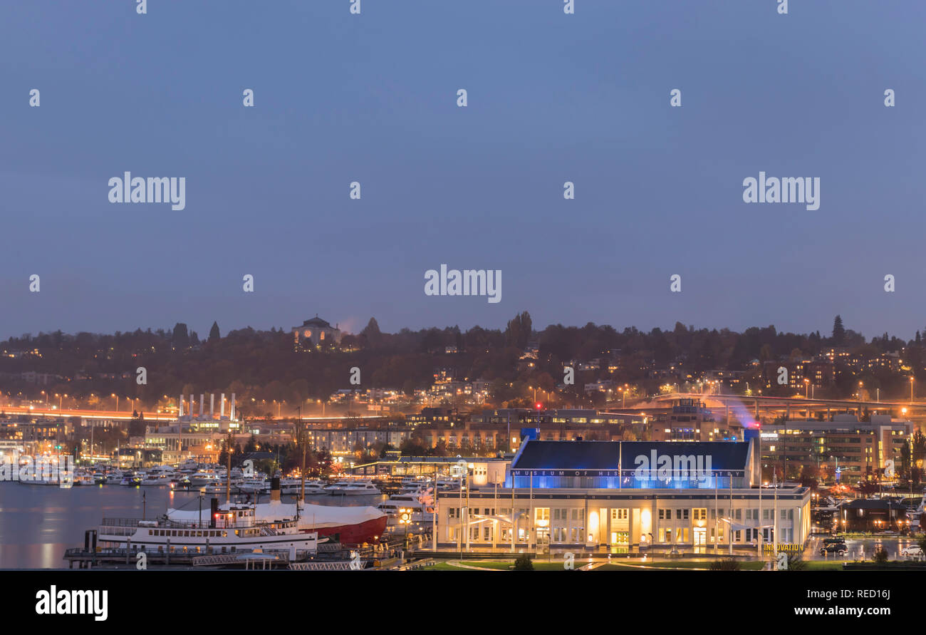 Seattle, Washington, USA - 27 October 2018. Lake Union and the Museum of History and Innovation at twilight. Stock Photo