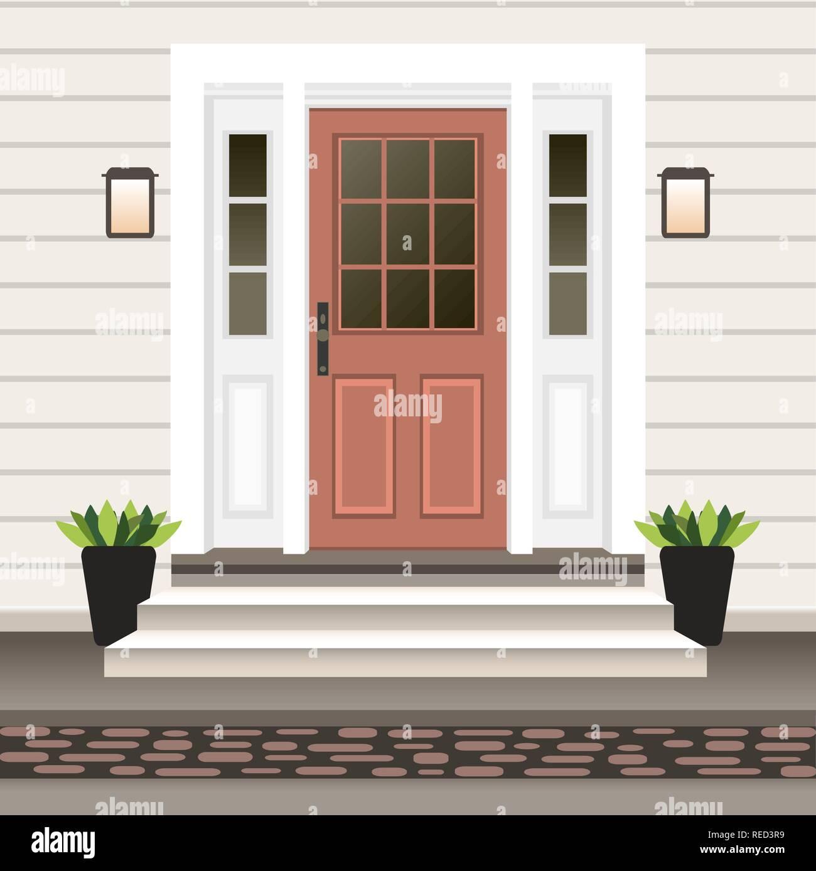 House door front with doorstep and steps porch, window ...