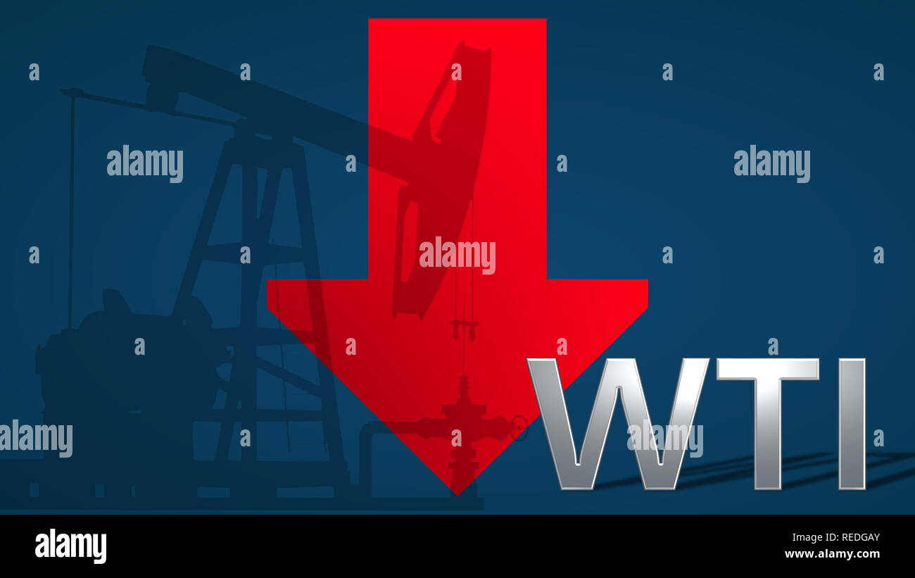 The price of WTI Crude oil is falling. A red arrow showing downwards with an oil well pumpjack behind the word WTI, on a blue background, symbolizes... - Stock Image