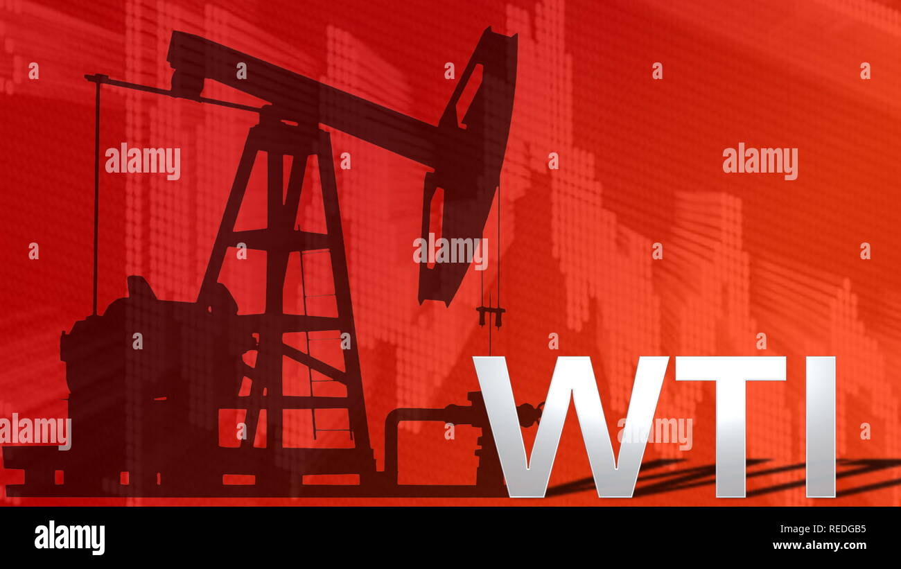 The price of WTI Crude oil is falling. Behind the word WTI is a black silhouette of an oil well pumpjack with a red descending chart in the background... - Stock Image