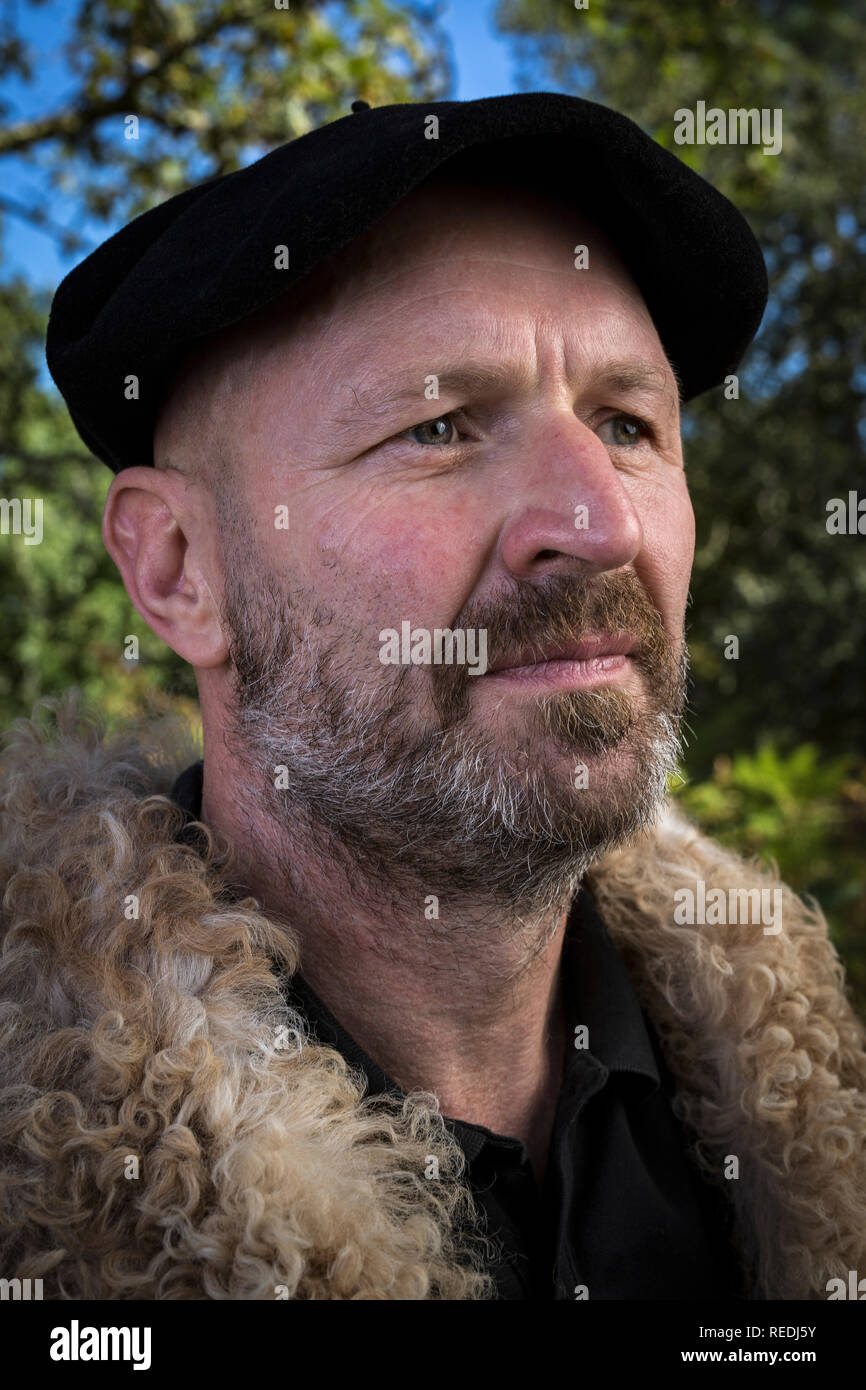 cd44793cf613c Portrait of a shepherd being in his traditional workwear and wearing a  Basque beret (South