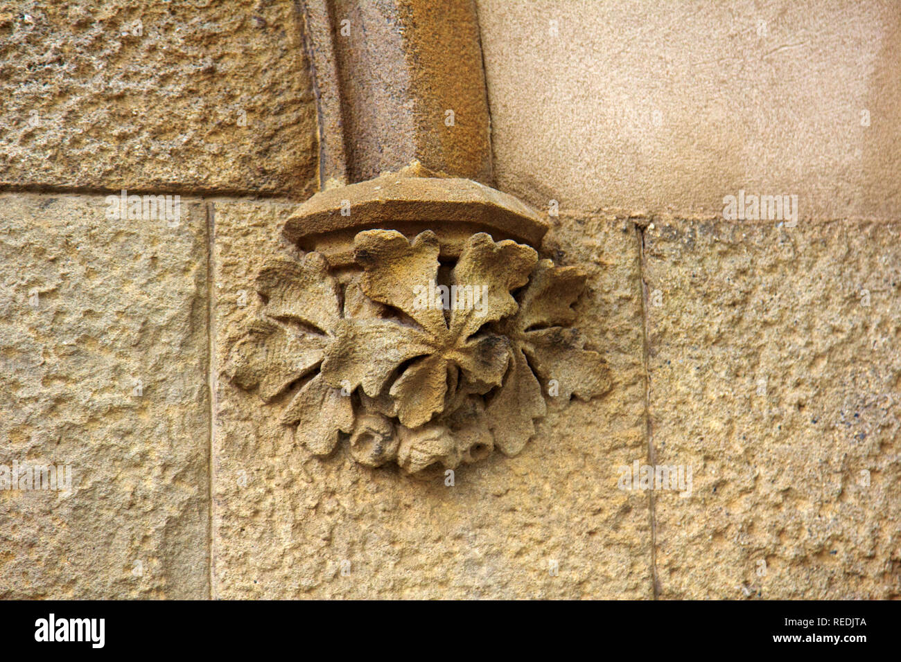 Stone Decorative Masverk In Ancient Cathedral Architectural Details On Building Stone Carving Aesthetic Frills Barcelona Stock Photo Alamy