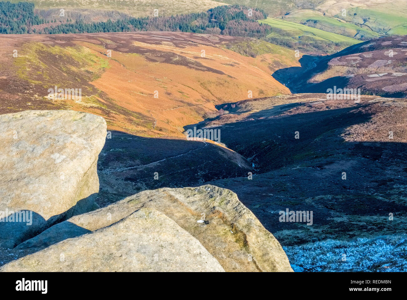 The northern edge of Kinder Scout in the Peak District National Park,Derbyshire,UK - Stock Image