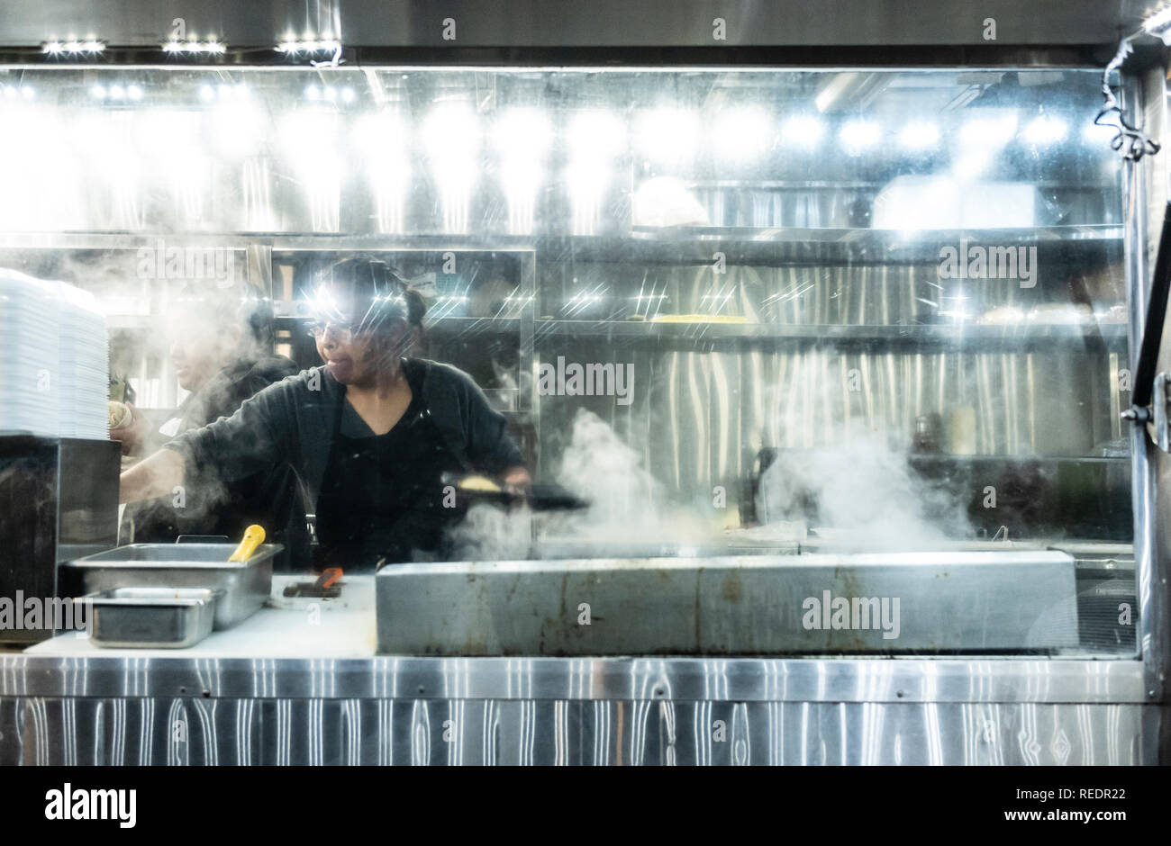Taco truck serving late-night food in Los Angeles, California. Stock Photo