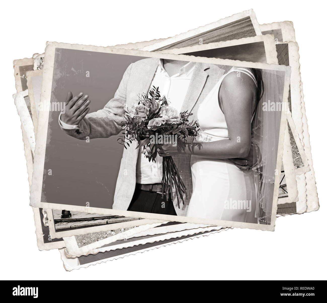 Stack of old photos Young newlywed just married - Stock Image