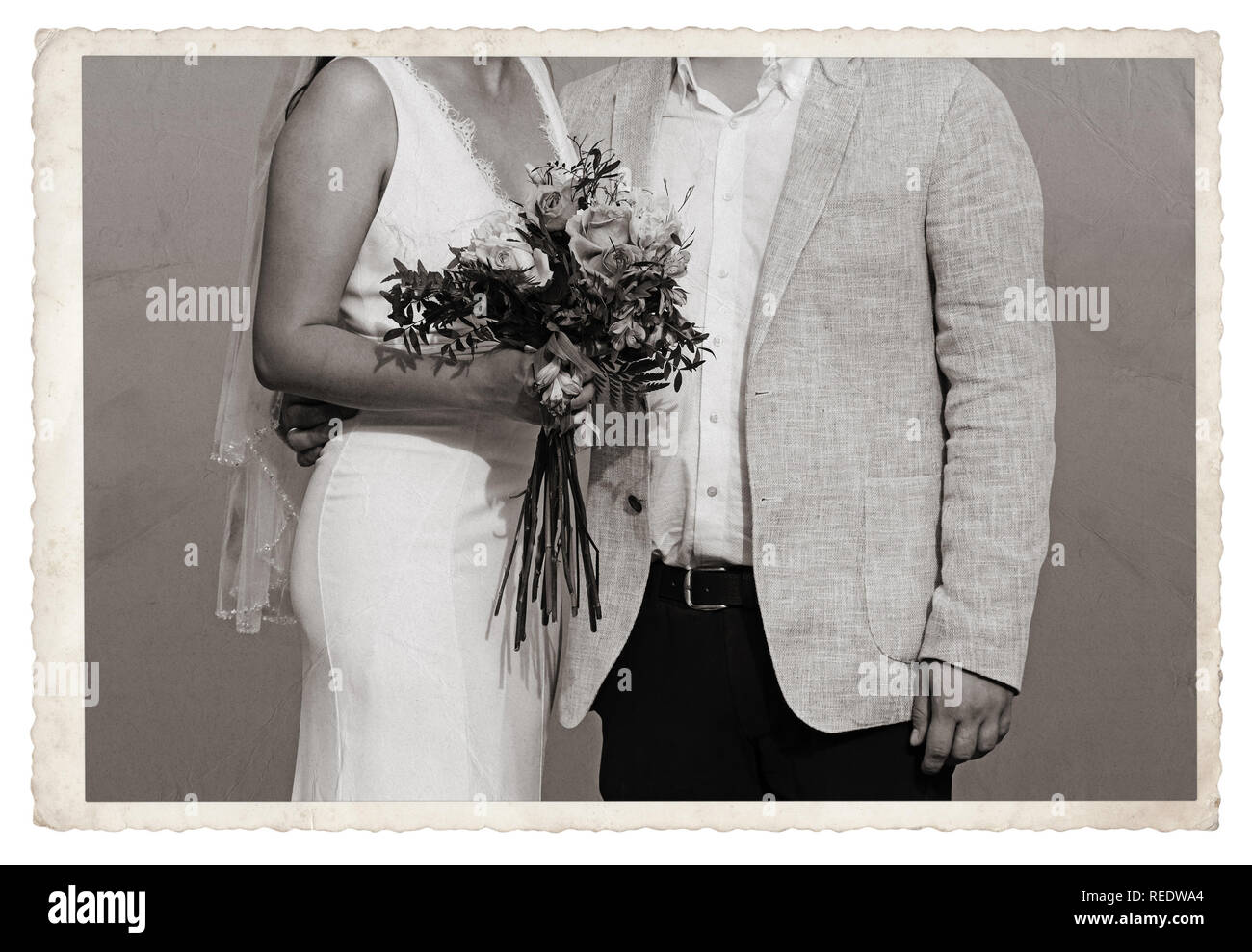 Old Vintage Monochrome photo with newlywed - Stock Image