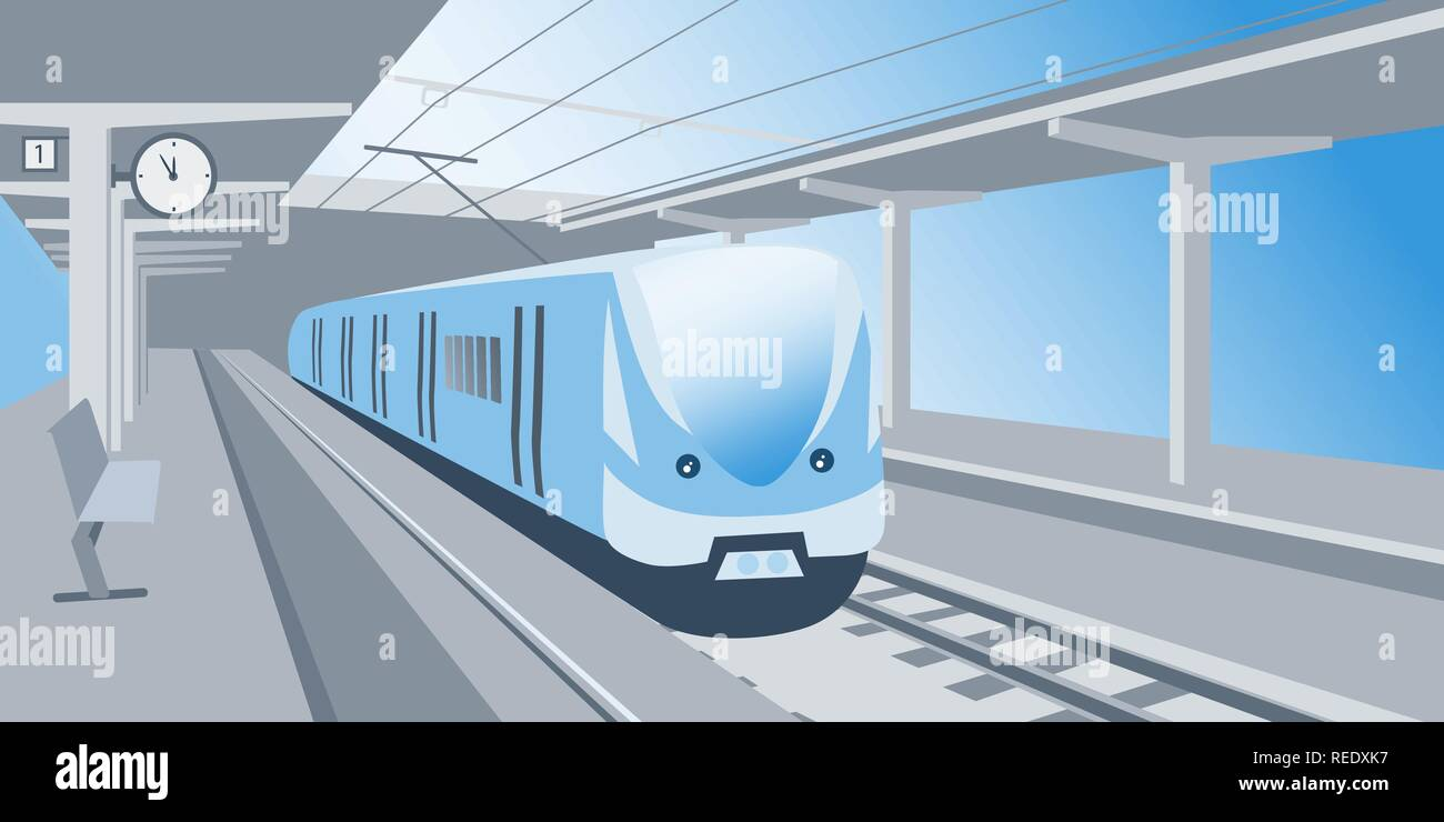 Train stand at the railway station waiting for departure vector illustration - Stock Vector