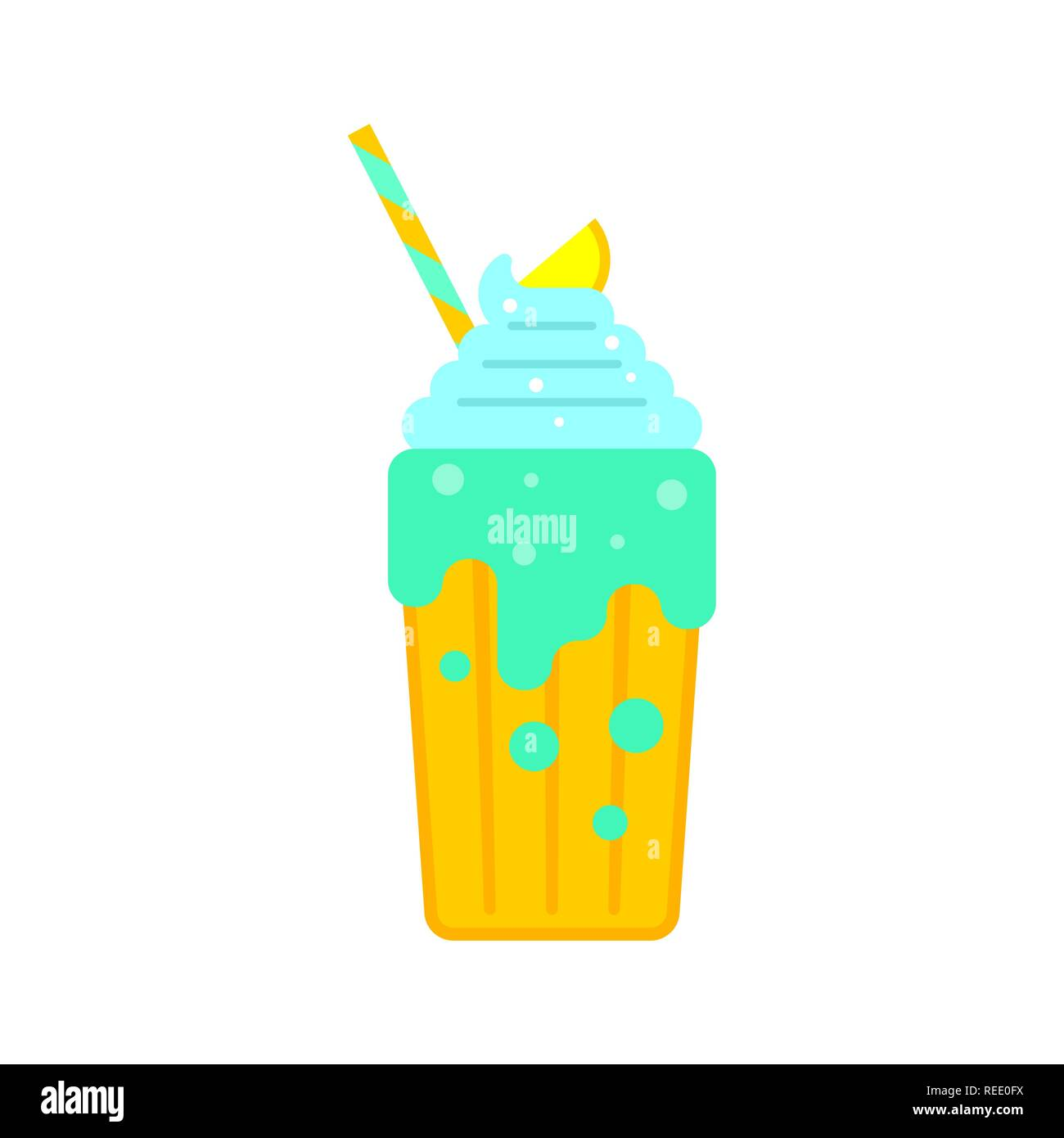 Avocado smoothie with cream. Milkshake with straw. Thick fruit drink Stock Vector