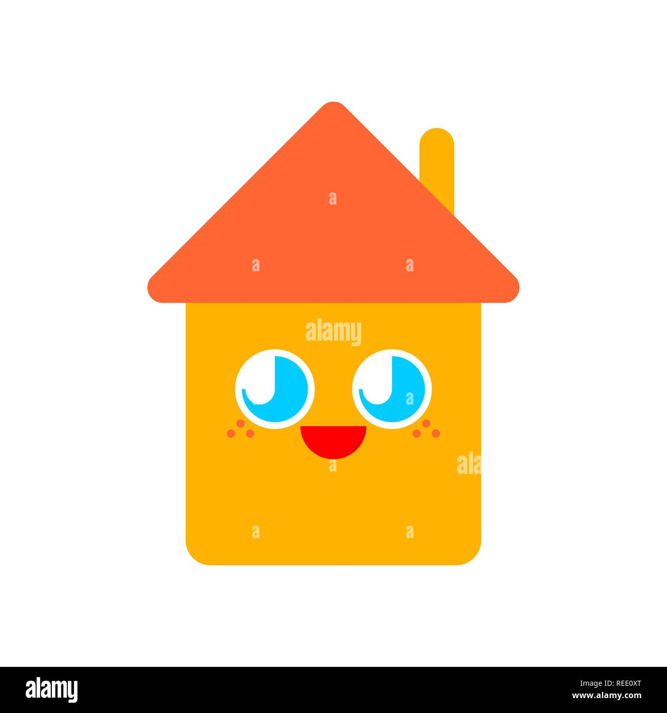 Cute House Mouth And Eyes Isolated Funny Home Cartoon Style Kids