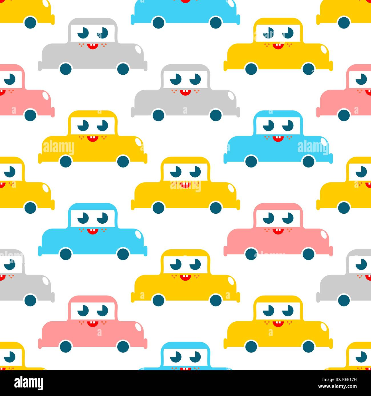 e675e2f0e2247 Cute car pattern. funny auto cartoon style background. Baby cloth ...