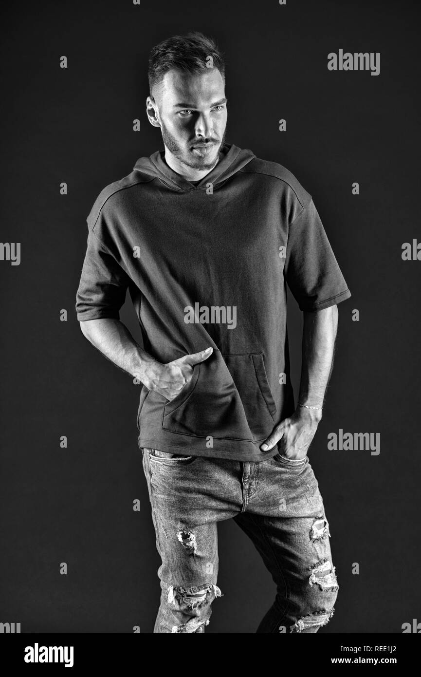 Informal concept. Man in sporty wear for informal meeting. Informal and casual. Informal in style. Feel authentic, black and white. - Stock Image