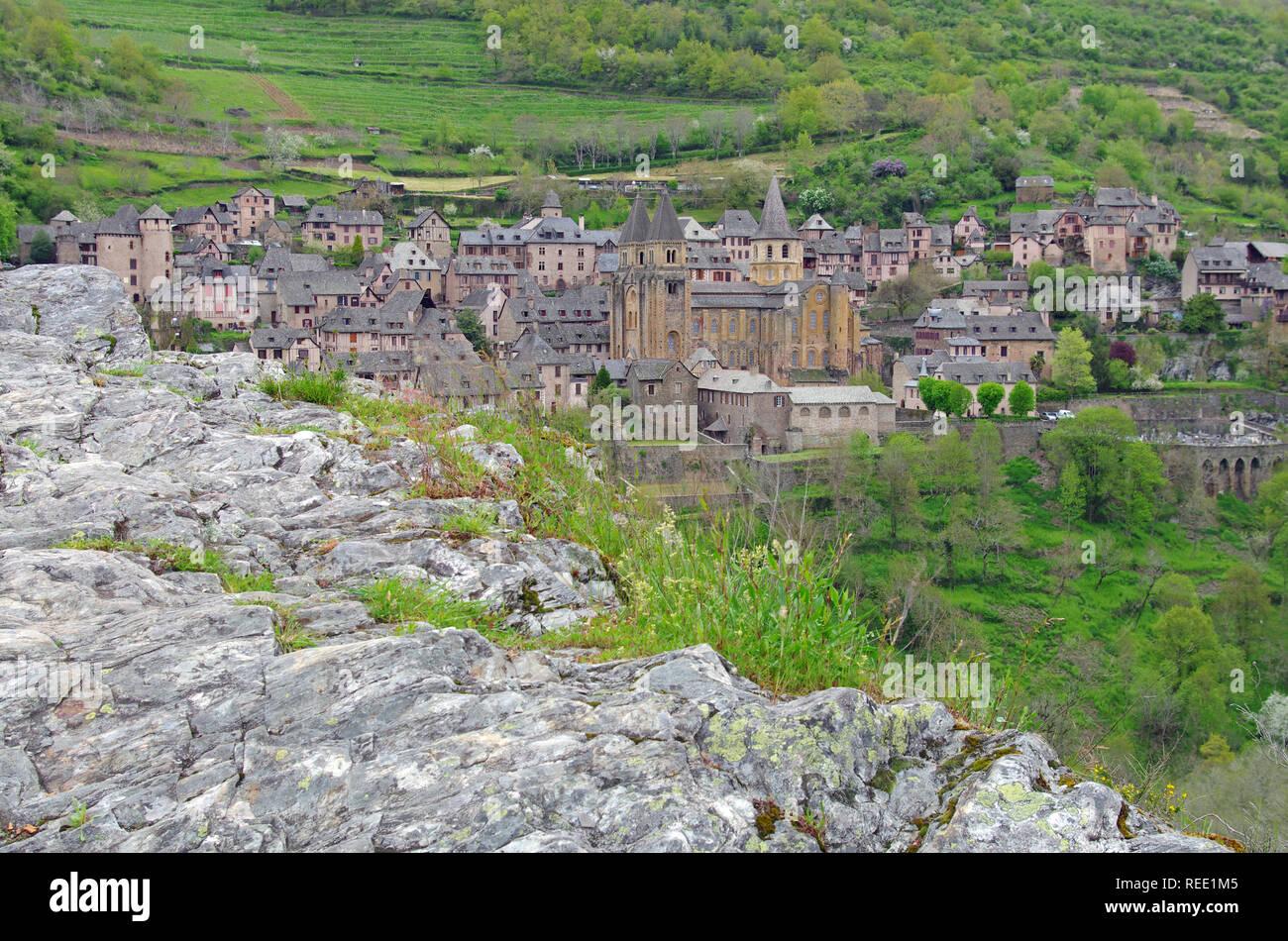 Conques medieval city. Aveyron, france. Camino de Santiago. Chemins de saint-Jacques de compostelle - Stock Image