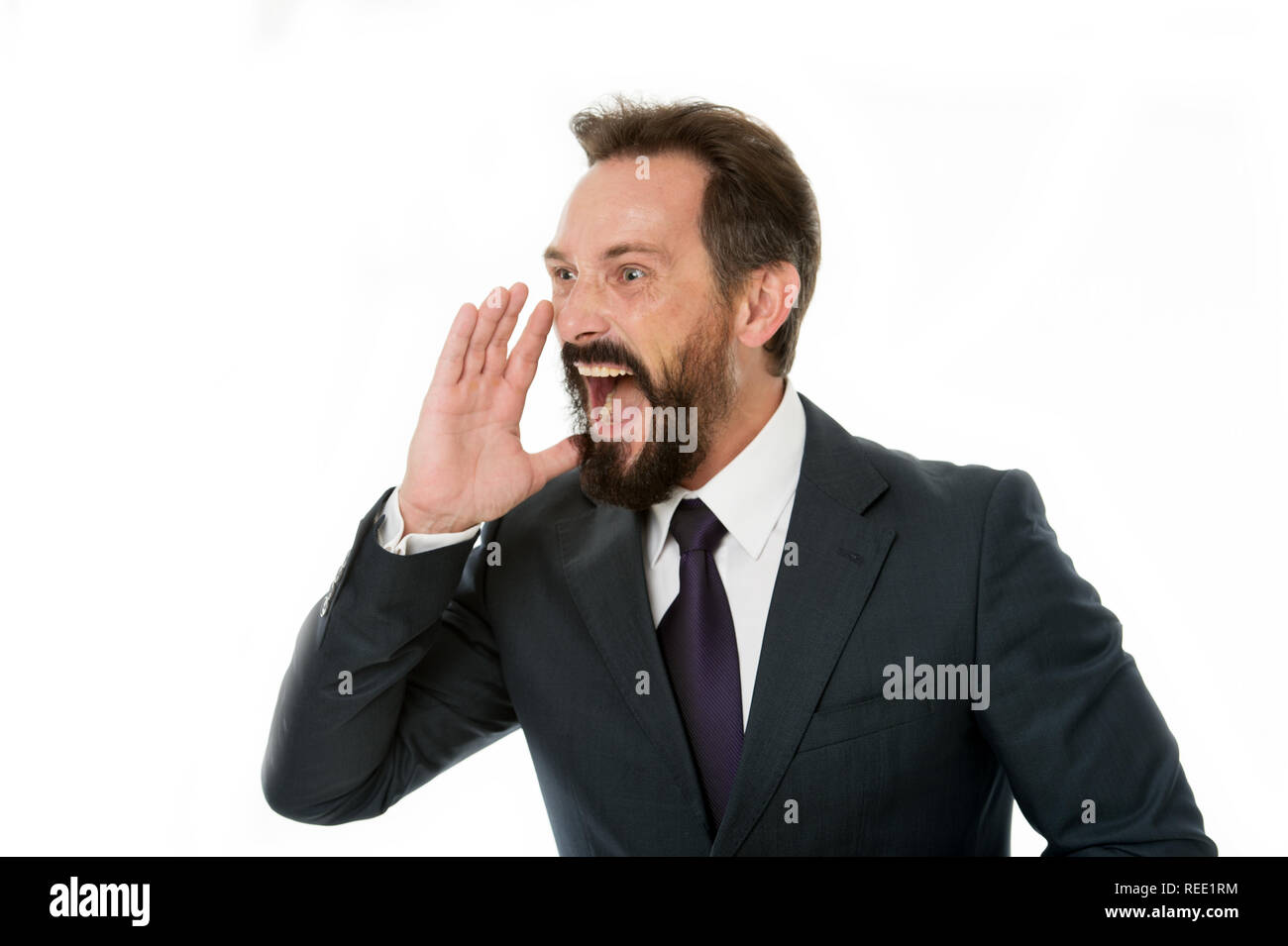 Overwhelming rumors. Businessman classic formal suit shouting loudly overwhelming news. Charismatic person achieves success easier. Businessman shouting face informing important. Do you hear me. - Stock Image