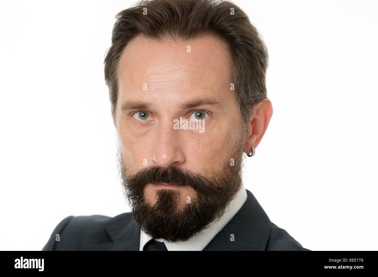 Glance radiant confidence. Businessman classic formal clothing made decision. Business behaviour must be confident. Businessman success tips. Man with beard and mustache looks serious close up. - Stock Image