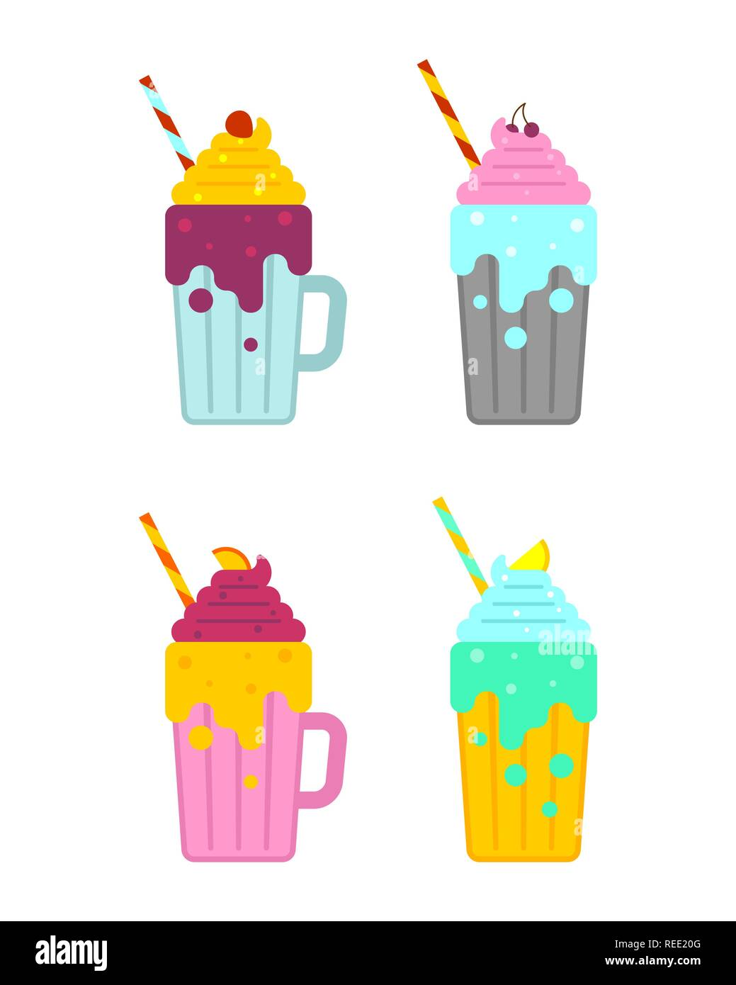 Smoothie set. Milkshake with straw. Thick fruit drink Stock Vector