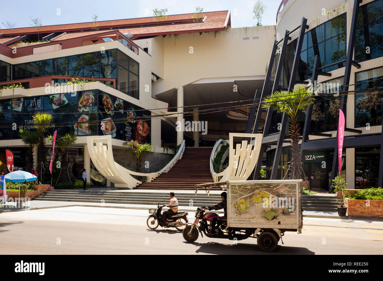 Street scene outside a modern new shopping centre in Siem Reap, Cambodia, southeast Asia Stock Photo