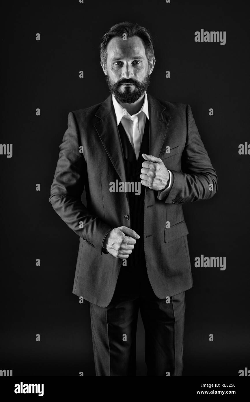 Businessman. Businessman in formal wear. Businessman of style and status. Fashion businessman with stylish look. Thinking about business, black and white. - Stock Image