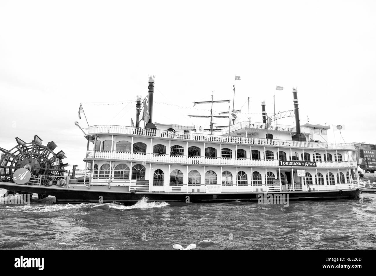 Hamburg, Germany - September 07, 2017: old ship float on water in city harbor. Retro vintage vessel transport, transportation. Travel, travelling trip. Vacation discovery wanderlust. - Stock Image