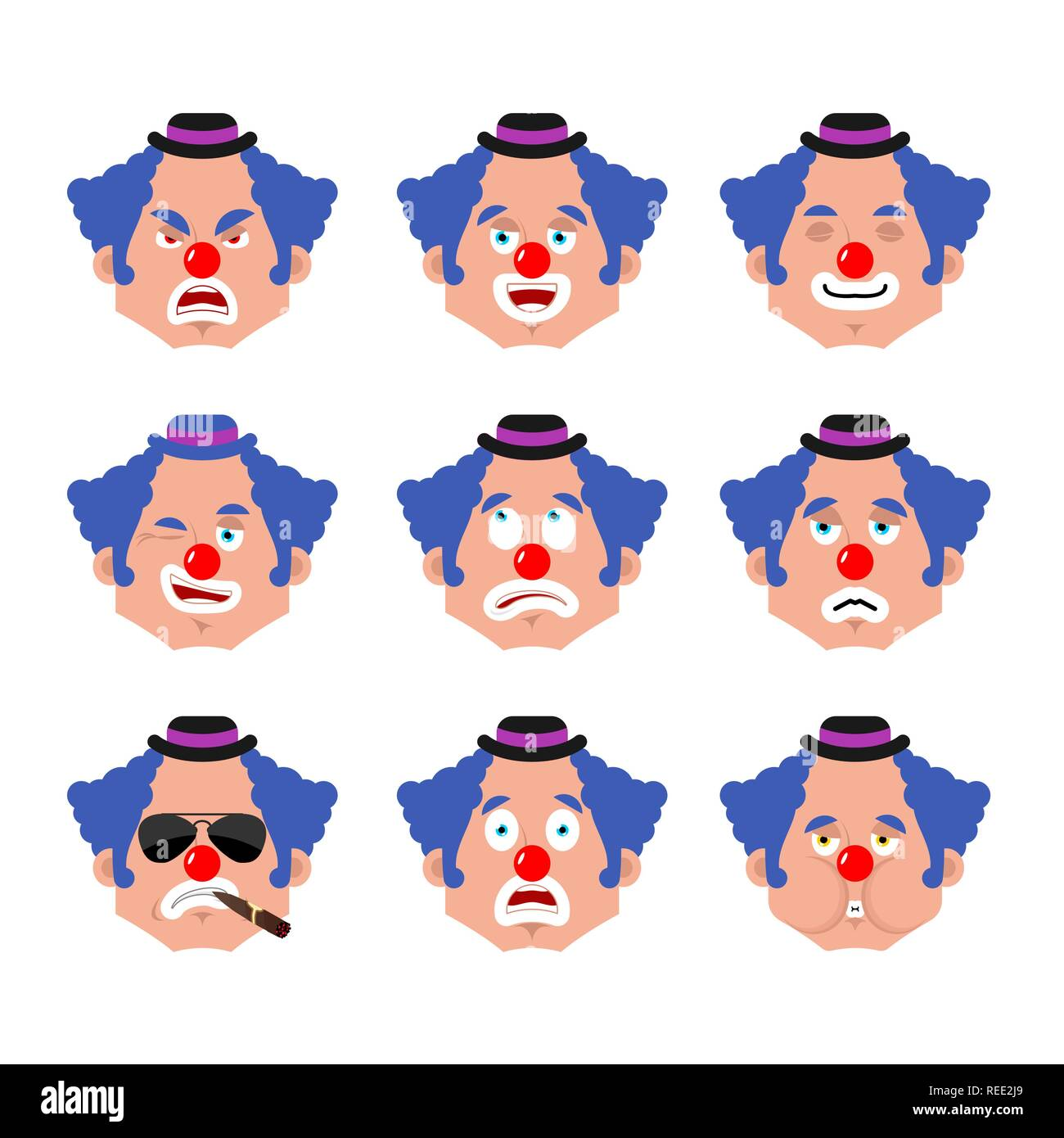 Clown face set. sleeping and evil emotion avatar. bewildered and sad funnyman emoji. harlequin fear and happy icon. serious and winks Stock Vector
