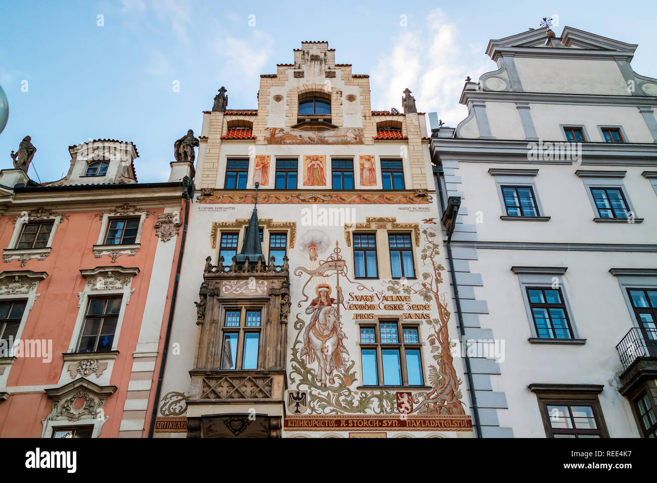 The medieval Storch House with a beautiful painting of St. Wenceslas on his horse, situated at the Old Town Square in Prague, Czech Republic. - Stock Image