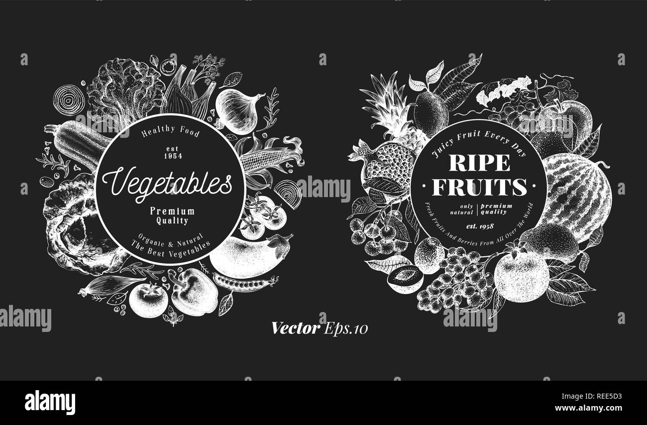 Two natural designs set. Fruits, berries and vegetables illustrations on chalk board. Retro engraved style frame templates. Can be use for menu, label, packaging, farm market products. - Stock Vector